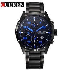 Luxury Stainless Steel Calendar Analog Watches Men Quartz Military Sport Watch