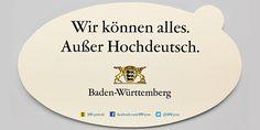 Sticker met de slogan 'Wir können alles. Ausser Hochdeutsch' van de Duitse deelstaat Baden-Württemberg