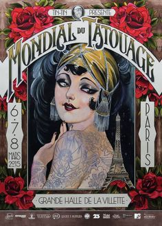 Poster for Paris tattoo convention. Tattoo Posters, Pub Vintage, Vintage Art, Art And Craft, Gold Tattoo, Drawing Letters, Graffiti Lettering, Typography, Poster