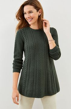 Aileen Cable Pullover in Hunter Green Heather
