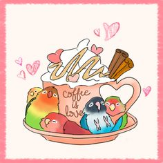 imagine if you got these wonderful fellows with ur coffee every morning ! Funny Birds, Cute Birds, Bird Drawings, Cute Drawings, Bird Pictures, Cute Pictures, Chibi Food, Crazy Bird, Cute Chibi