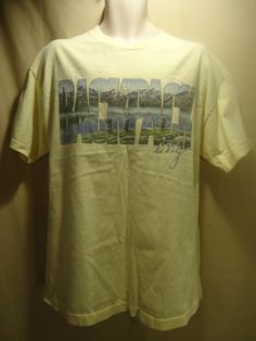 """VINTAGE! Men's """"Backpacking"""" Pale Yellow Graphic T-SHIRT- XL-w/ natural fading"""