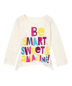 This Ivory 'Smart' Lace Top - Kids by Kidtopia is perfect! Mini Monster, Ivory, Graphic Sweatshirt, Future Children, Toddler Girls, Sweatshirts, Lace, Kid Stuff, Sweaters