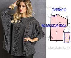 Analise o desenho do molde de blusa estampada, esta blusa é simples, veste de forma jovem, descontraída e elegante. As medidas correspondem ao tamanho 42.