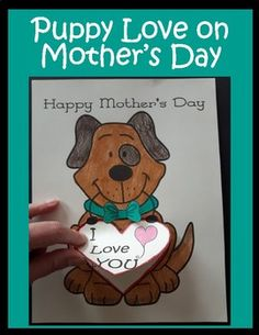 You'll have so much fun with this craft!  Yes .. that puppy is 3D.Lift up the heart to reveal a message to Mum, Mom, Grandma, Sister, Aunt, etc. underneath the heart!  So cute.Includes 2 components:1 - Students begin with the Puppy Template.  There are 2 puppy templates to choose from.