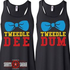 Tweedle Dee & Tweedle Dum Racerback Tank Tops (Black) Tees - Tank Tops - Ideas of Tank Tops - Praise Tees Tweedle Dee & Tweedle Dum Racerback Tank Tops Set (Black)(Other colors available by request) Select Dee Shirt via Size Select Dum Shirt via Matching Disney Shirts, Matching Outfits, Cute Outfits, Disney Tank Tops, Bff Shirts, Vinyl Shirts, Senior Shirts, Work Shirts, Funny Shirts