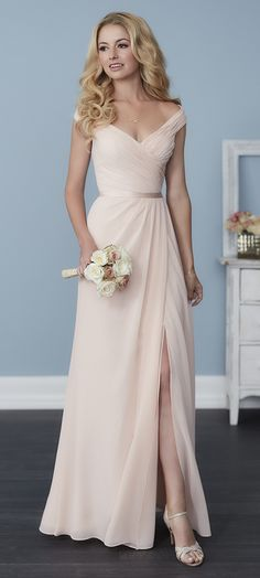 SPRING 2017 // Style 22758 | Full-length A-line chiffon dress with pleated straps and bodice, a sweetheart neckline, and a cute satin belt. #ChristinaWuCelebration #Bridesmaids #ChristinaWu #SpringWedding
