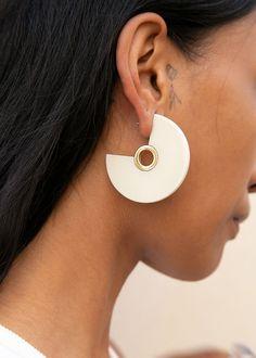 Pac Eyelet Hoop Earrings in Bone by Rachel Comey – The Frankie Shop Bar Stud Earrings, Crystal Earrings, Sterling Silver Earrings, Statement Earrings, Jewelry For Her, Jewelry Gifts, Jewellery, Clay Jewelry, Cheap Earrings