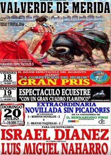 Cartel de festejos en Valverde de Merida, Cáceres, España