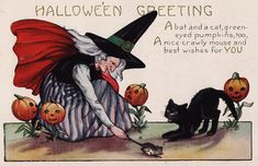Mouse by the Tail Retro Halloween, Halloween Chat Noir, Image Halloween, Vintage Halloween Images, Halloween Post, Images Vintage, Halloween Clipart, Halloween Pictures, Vintage Holiday