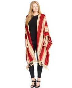 Lauren Ralph Lauren Plus Size Striped Fringed Poncho