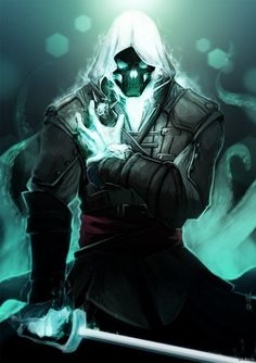 Interesting concept of an assassin's creed character turned with a ghost rider feel. Fantasy Character Design, Character Concept, Character Inspiration, Character Art, Concept Art, Dark Fantasy Art, Dark Art, Ghost Rider, Assassins Creed