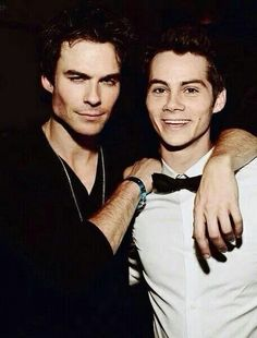 Ian Somhalder and Dylan O'Brien.  Vampire daries. Damon Salvatore. Teen wolf. Stiles Stilinksi.