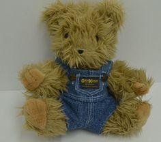 "Osh Kosh B'Gosh Teddy Bear Plush Brown Blue Jean Overalls Bon Ton Stuffed 11"" #BonTonToys"