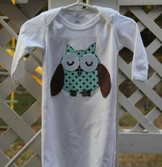 Sleepy Oscar Owl Applique Baby gown Set by hbmcinteer on Etsy, $29.50
