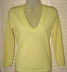 THEORY Yellow Semi Sheer Wool Blend V Neck 3/4 Sleeve Summer Sweater Top P S