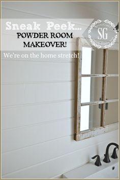POWDER ROOM MAKEOVER SNEAK PEEK bringing back it's farmhouse style