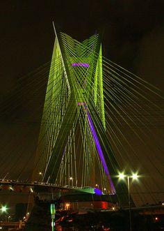Octavio Frias de Oliveira Bridge over the Pinheiros River in São Paulo, Brazil
