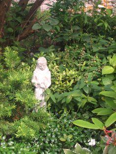 Francis conducting a symphony of textures in the shade garden. St Francis, Humble Abode, Shade Garden, Seaside, Garden Sculpture, Shades, Outdoor Decor, San Francisco, Beach
