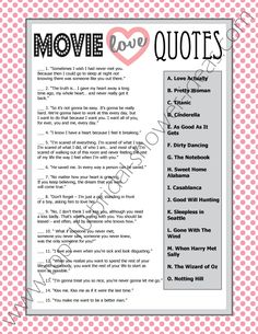 "Printable Bridal Shower Game ""Movie Love Quotes""  - try to guess which movie these famous love quotes come from! #bridalshowergames #printablegames"