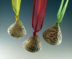 Pottery Windchime Bells  Christmas  Ornaments  by Botanic2Ceramic, $28.00