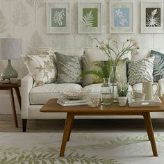 Leaf-themed living room Take a softly-softly approach to decorating a small living room with neutrals and soft greens.