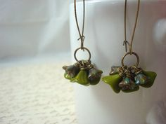 Olive Green Flower Earrings, Czech Glass Earrings, Antique Brass Earrings, Czech Flower Earrings