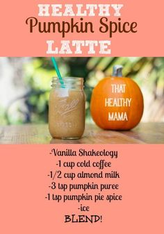 Healthy Pumpkin Spice Latte It's that time of year that pumpkin stuff is everywhere! Trade your Starbucks money for this SUPER healthy Shakeology 310 Shake Recipes, Protein Shake Recipes, Smoothie Recipes, Protein Shakes, Drink Recipes, Healthy Smoothies, Healthy Drinks, Fruit Smoothies, Healthy Breakfasts