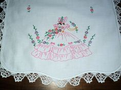 VTG Hand-embroidered Runner~Scarf SOUTHERN BELLE Pink with Crocheted edge