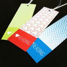 Free Printable Bookmarks in bold graphic patterns.