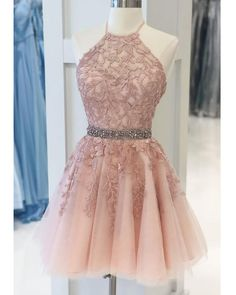 Halter Lace Blush Pink Homecoming Dress,Beading Semi Formal Cocktail Dress , SP07284 Posh Dresses, Elegant Dresses, Beautiful Dresses, Yellow Homecoming Dresses, Formal Cocktail Dress, Party Dresses Online, Sweet Dress, Dress Collection, Lace Dress