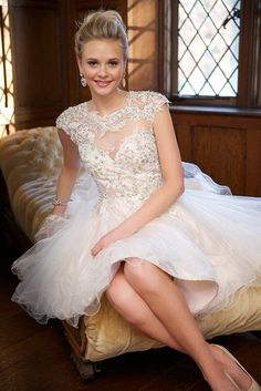 Discount Gorgeous Tulle Homecoming Dresses 2015 Best Selling Sheer Neck Cap Sleeves Beaded Appliques Tulle Short Graduation Party Gowns Open Back Online with $71.28/Piece | DHgate