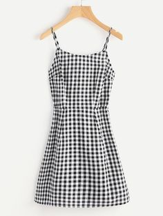 Shop Open Back Princess Seam Gingham Cami Dress online. SheIn offers Open Back Princess Seam Gingham Cami Dress & more to fit your fashionable needs. Look Fashion, Teen Fashion, Womens Fashion, Ladies Fashion, Fashion Ideas, Fashion Styles, Cute Dresses, Cute Outfits, Stylish Outfits