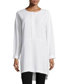 Long-Sleeve High-Low Silk Tunic, Women's, Black - Go Silk