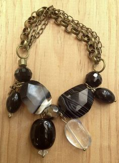 Black Agate Gemstone Bracelet Clear Crystal by EyeKandyJewellery, $36.00