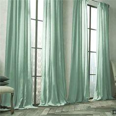 Kaufen Vorhang Grün Uni Leinen Baumwolle ( 1 Stück ) mit Günstigste Preis und…