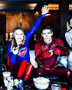 Melissa Benoist and Grant Gustin #Supergirl #TheFlash