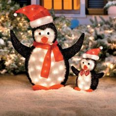 lighted penguin set from skymall find lighted outdoor christmas decorations