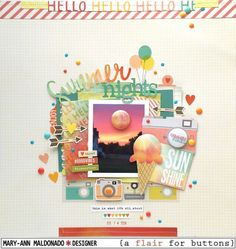 Summer Nights by @maldonadomas for A Flair or Buttons using @simplestories #bloghop #layout #scrapbooking