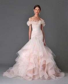 Wedding dress from the Marchesa Spring/Summer 2017 Bridal Collection. Image by FirstVIEW, courtesy of Marchesa. Spring 2017 Wedding Dresses, Pink Wedding Dresses, Bridal Dresses, Spring Wedding, Tulle Wedding, Wedding Week, Gown Wedding, Wedding Pics, Wedding Bride