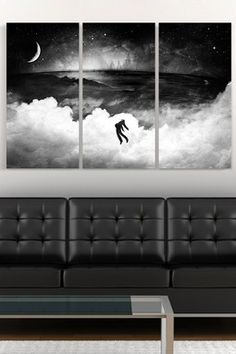 """""""Lost in the World"""" by Alex Cherry, Print on Canvas - 20"""" x 40"""" - Set of 3"""
