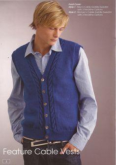 Mens Cable Vee Button Vest pattern by Patons Australia Knitting Designs, Knitting Patterns Free, Knit Patterns, Baby Knitting, Mens Sleeveless Cardigan, Knit Vest Pattern, Crochet Coat, Down Vest, Grad