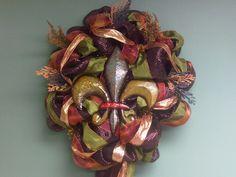 Fall Fleur de lis wreath
