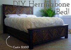 DIY Queen Herringbone Bed