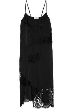 DKNY   Lace-paneled stretch-silk satin dress   NET-A-PORTER.COM