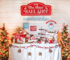 """Create a fun and memorable Christmas Cookie Exchange party with these Mrs. Claus' Bake Shop Cookie Exchange Party ideas and printables. This theme is so fun for the holidays! The Just Add Confetti printables for this Christmas party theme will pull your celebration together in no time. Don't forget the """"baked with love"""" gift tag printables too. They are such a sweet way to package your holiday baked good gifts and treats at the cookie exchange and long after the party too!"""
