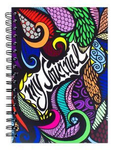 """My Journal"" Hand Drawn and Colored Spiral Notebook"