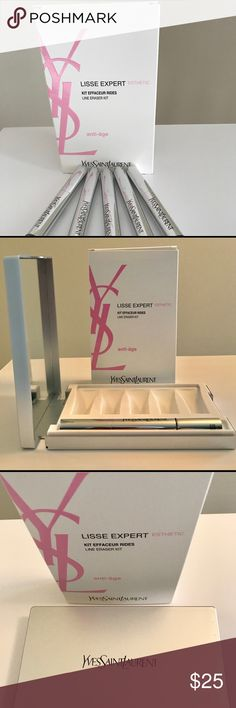 """YSL Mirrored Case with Wrinkle Filler Pen YSL Lisse Expert Wrinkle Filler Pen is great for yourself! Men also love this anti age component for a skincare regimen. The peeling products are not included. The wrinkle filler pen and the luxurious matte silver mirrored hard case are on offer. I love the super high quality mirror and the case is very elegant. Sturdy. Nice YSL designer mirror to have. The set was $100. The Filler Pen is NWOT. Never used. Case is 3.5"""" H x 6""""L Yves Saint Laurent…"""