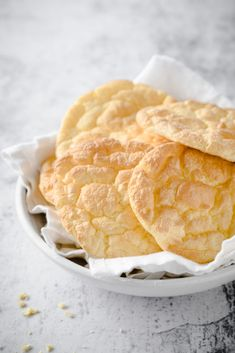 """Cloud bread is a great substitute for bread on the ketogenic diet. The term """"cloud"""" comes from the fact that its quite light and fluffy tasting, which comes from the egg whites being mixed and folded into the rest of the recipe. Low Carb Keto, Low Carb Recipes, Snack Recipes, Cooking Recipes, Diabetic Recipes, Bread Recipes, Dinner Recipes, Diabetes Foods To Avoid, Low Carb Burger Buns"""