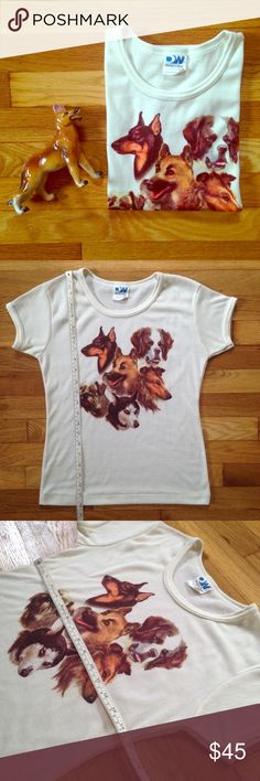 """Vintage dog ringer tee. This is fantastic! Cream colored, super soft ringer tee with an assortment of doggies! Measures. 22"""" long, 30"""" around at bust. Totally groovy! Vintage Tops Tees - Short Sleeve"""